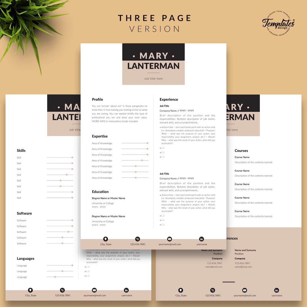 Elegant Resume Template - Mary Lanterman 04 - Three Page Version - New version