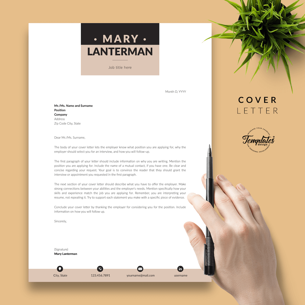 Elegant Resume Template - Mary Lanterman 05 - Cover Letter - New version