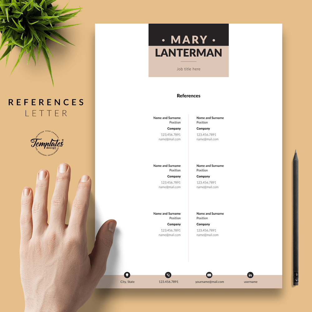 Elegant Resume Template - Mary Lanterman 06 - References - New version