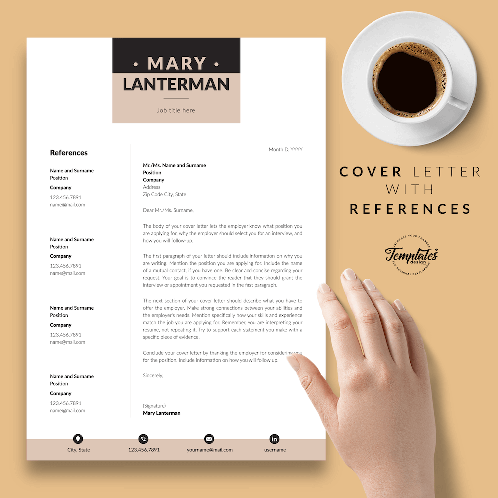 Elegant Resume Template - Mary Lanterman 07 - Cover Letter with References - New version