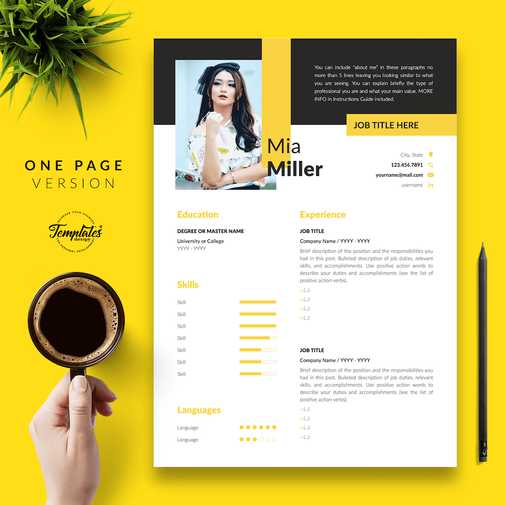 CV for Work-From-Home Jobs - Mia Miller 02 - One Page Version - New version