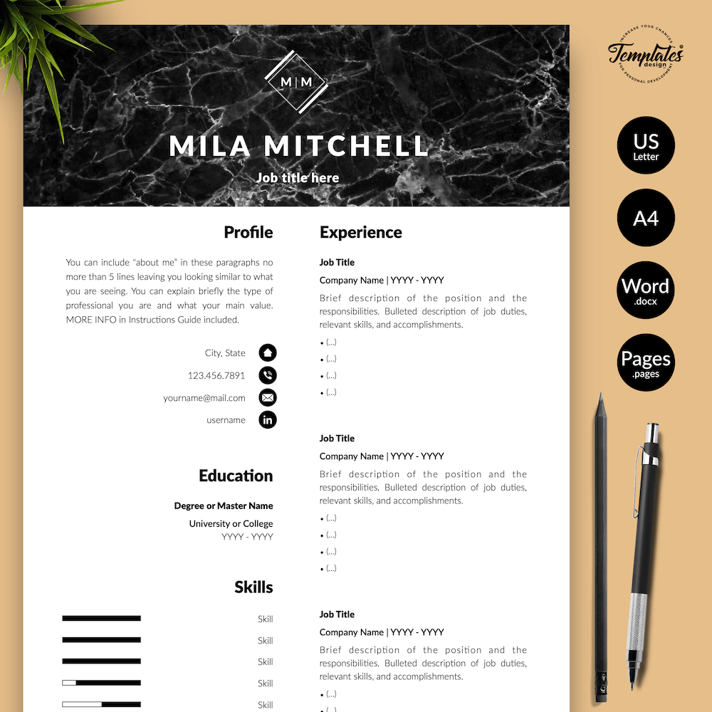 Marble Modern Resume Template - Mila Mitchell 01 - Presentation - New version