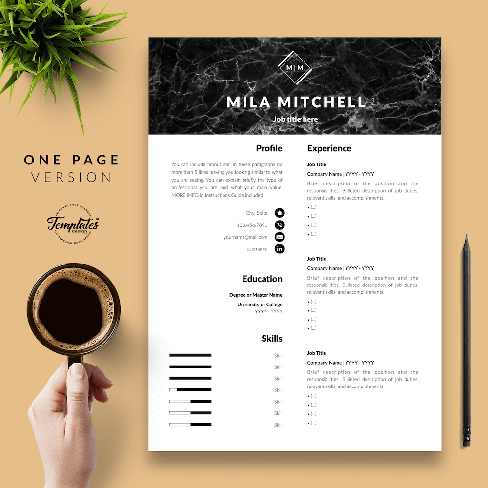 Marble Modern Resume Template - Mila Mitchell 02 - One Page Version - New version