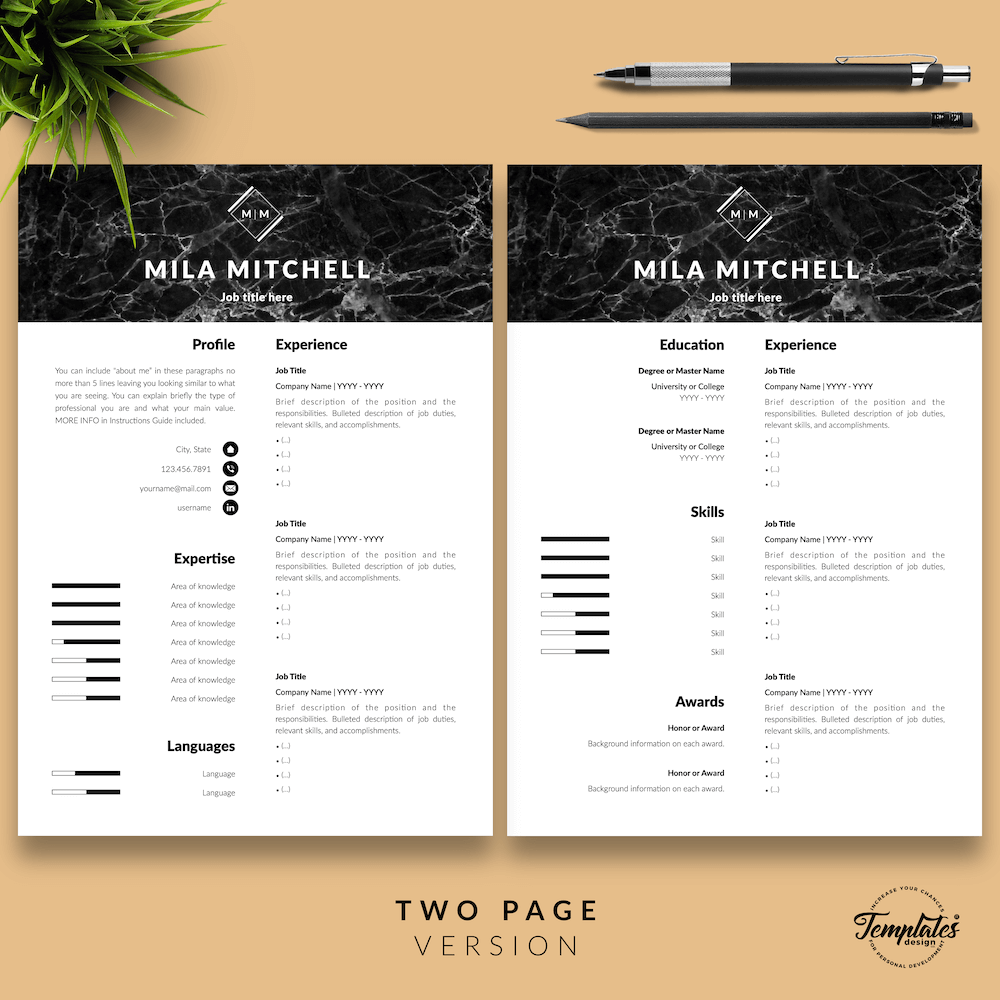 Marble Modern Resume Template - Mila Mitchell 03 - Two Page Version - New version