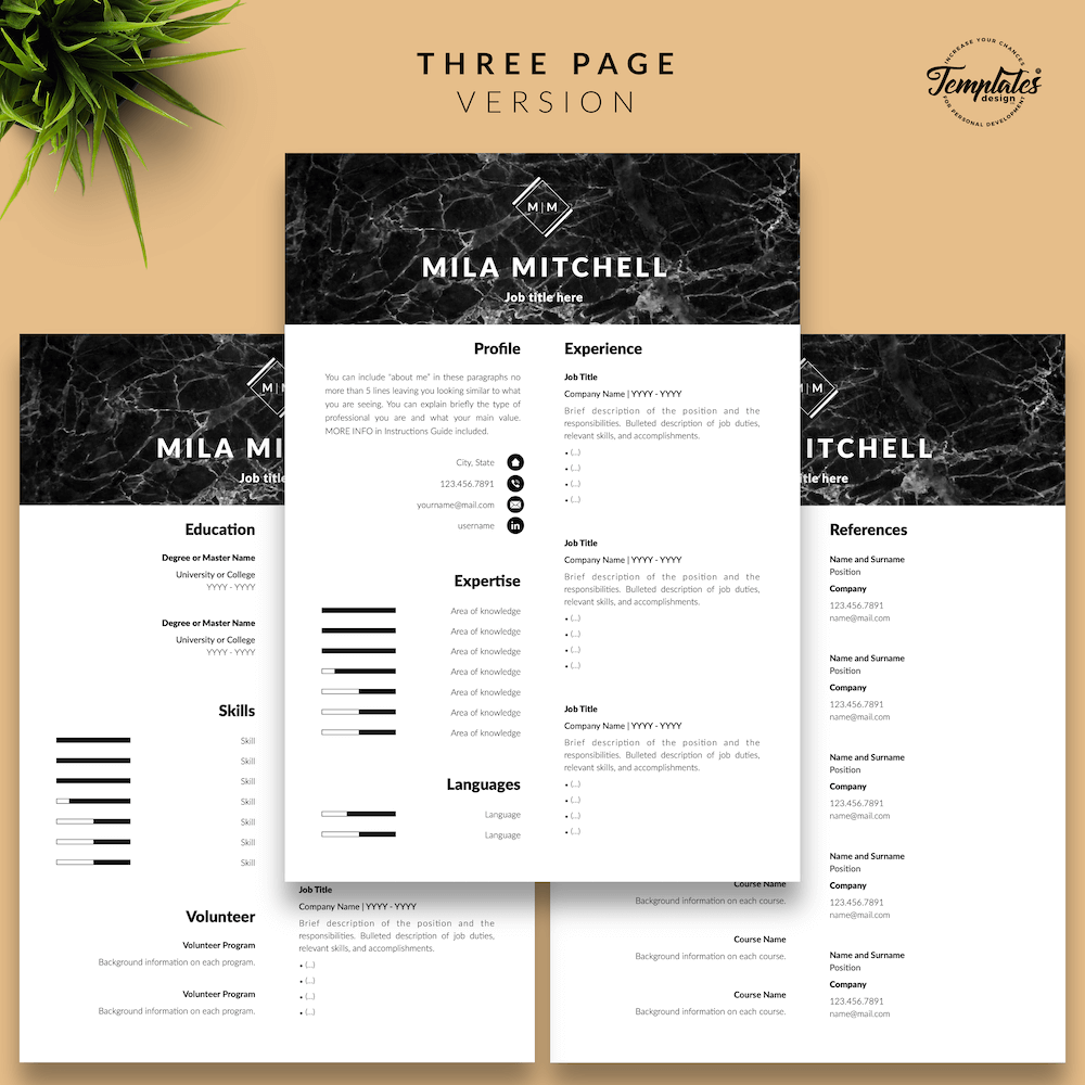 Marble Modern Resume Template - Mila Mitchell 04 - Three Page Version - New version