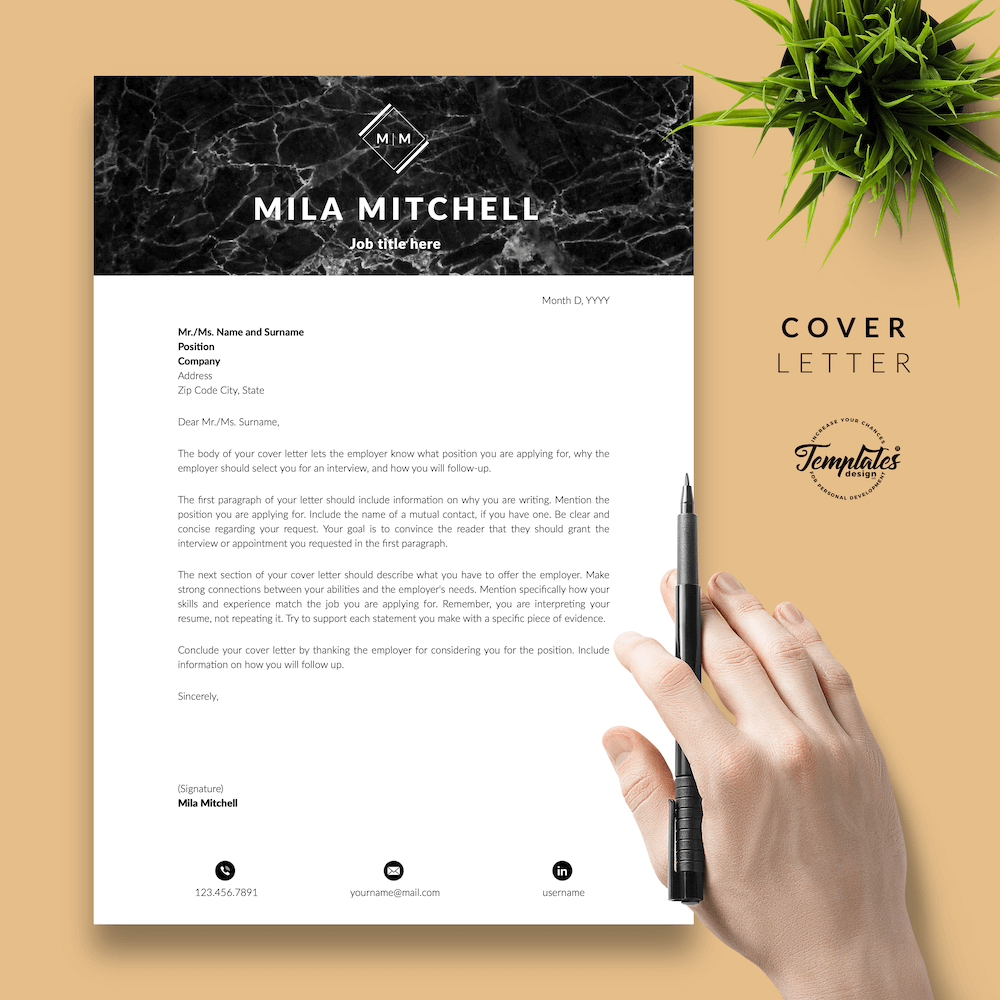 Marble Modern Resume Template - Mila Mitchell 05 - Cover Letter - New version