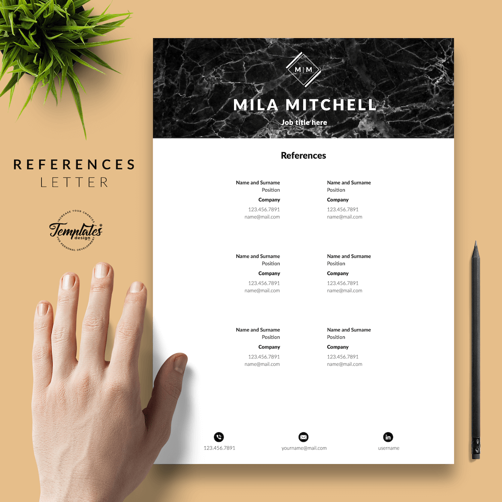 Marble Modern Resume Template - Mila Mitchell 06 - References - New version