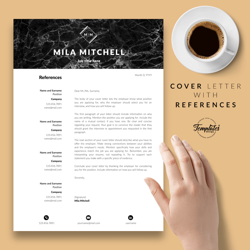 Marble Modern Resume Template - Mila Mitchell 07 - Cover Letter with References - New version