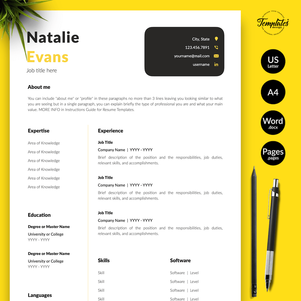 Simple Resume Format Template - Natalie Evans 01 - Presentation - New version