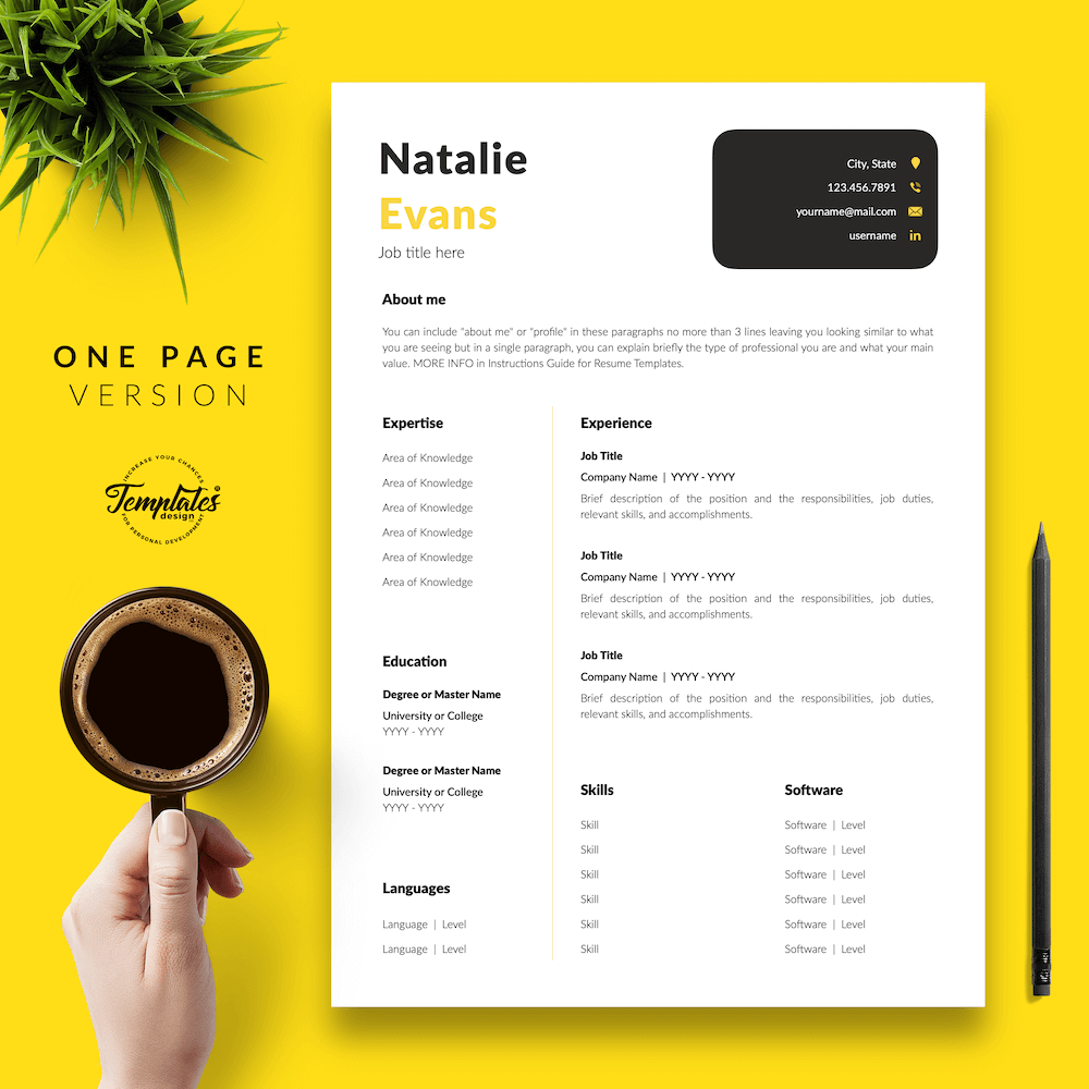 Simple Resume Format Template - Natalie Evans 02 - One Page Version - New version