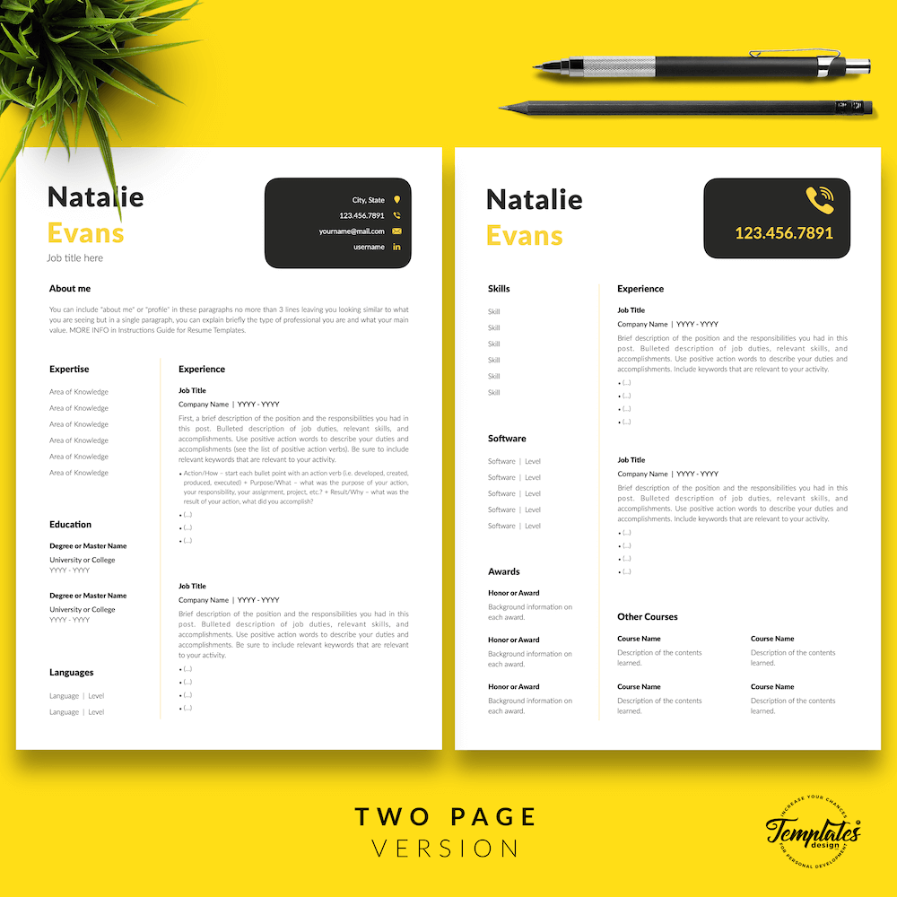 Simple Resume Format Template - Natalie Evans 03 - Two Page Version - New version