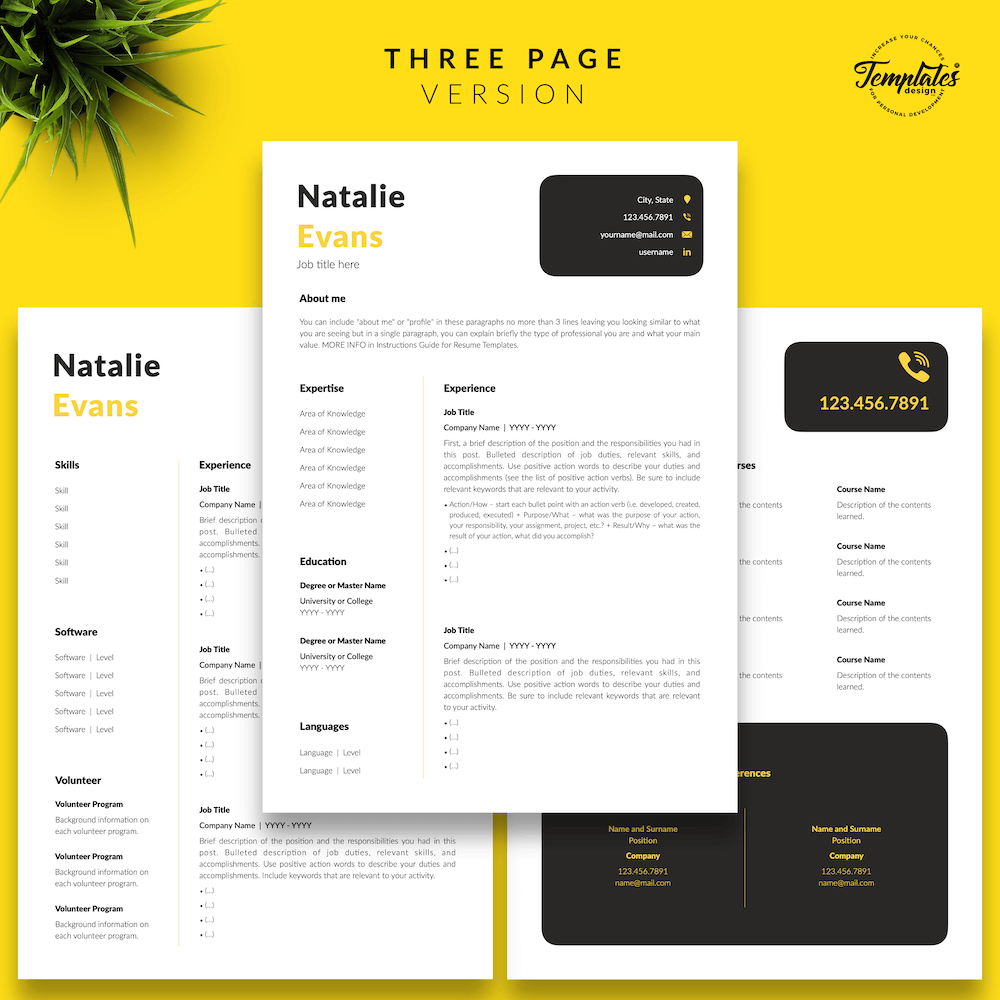 Simple Resume Format Template - Natalie Evans 04 - Three Page Version - New version