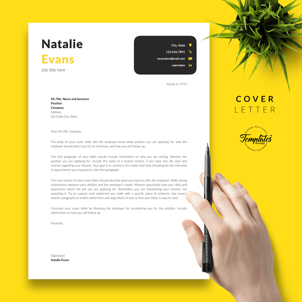 Simple Resume Format Template - Natalie Evans 05 - Cover Letter - New version