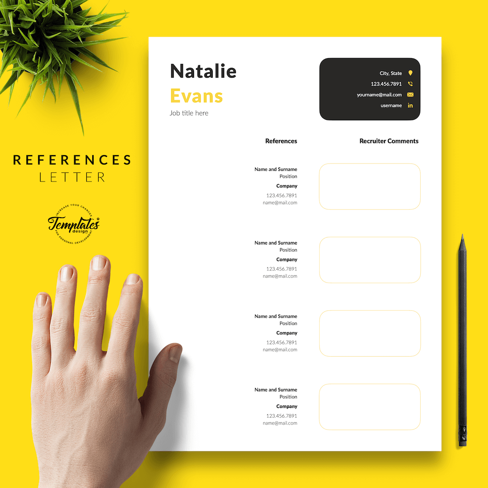 Simple Resume Format Template - Natalie Evans 06 - References - New version