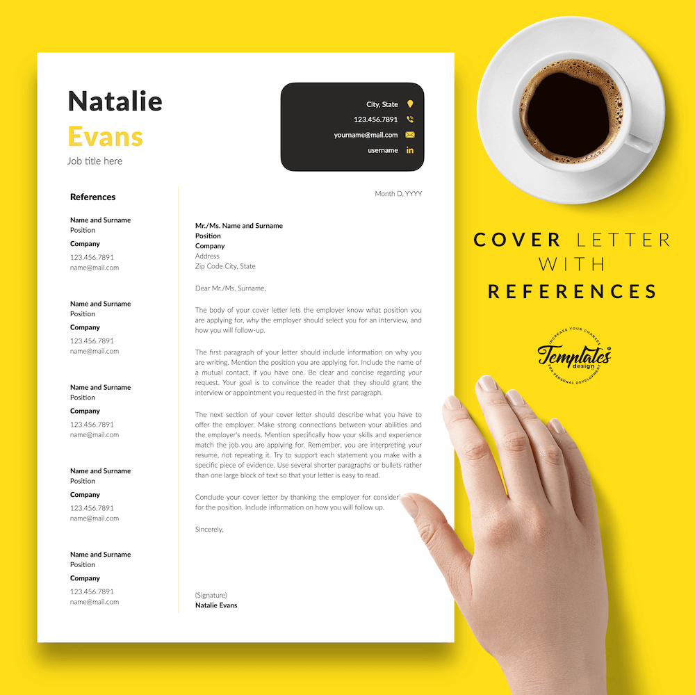 Simple Resume Format Template - Natalie Evans 07 - Cover Letter with References - New version
