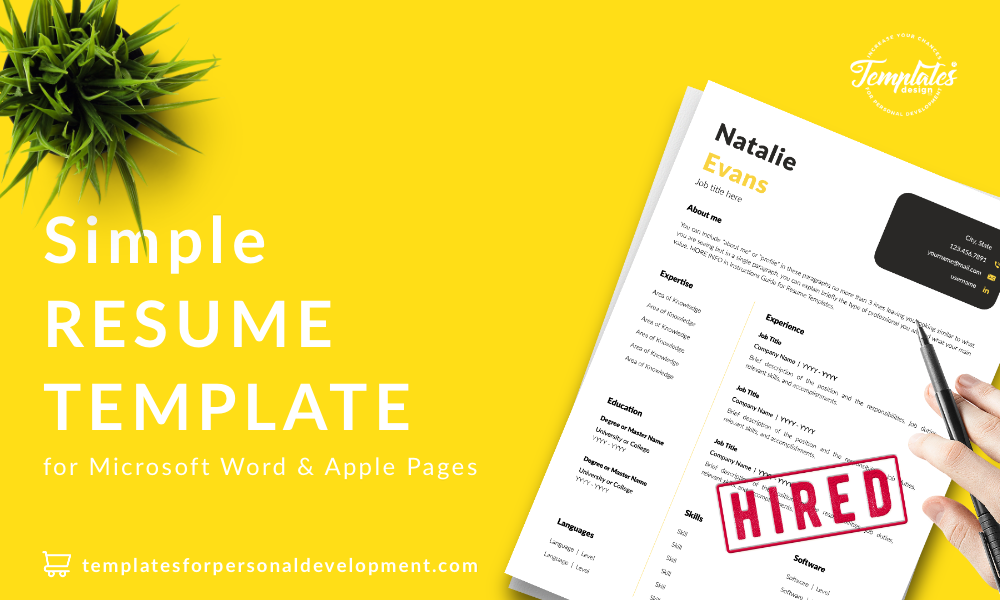 Resume CV Template : Natalie Evans 22 - Post - New version