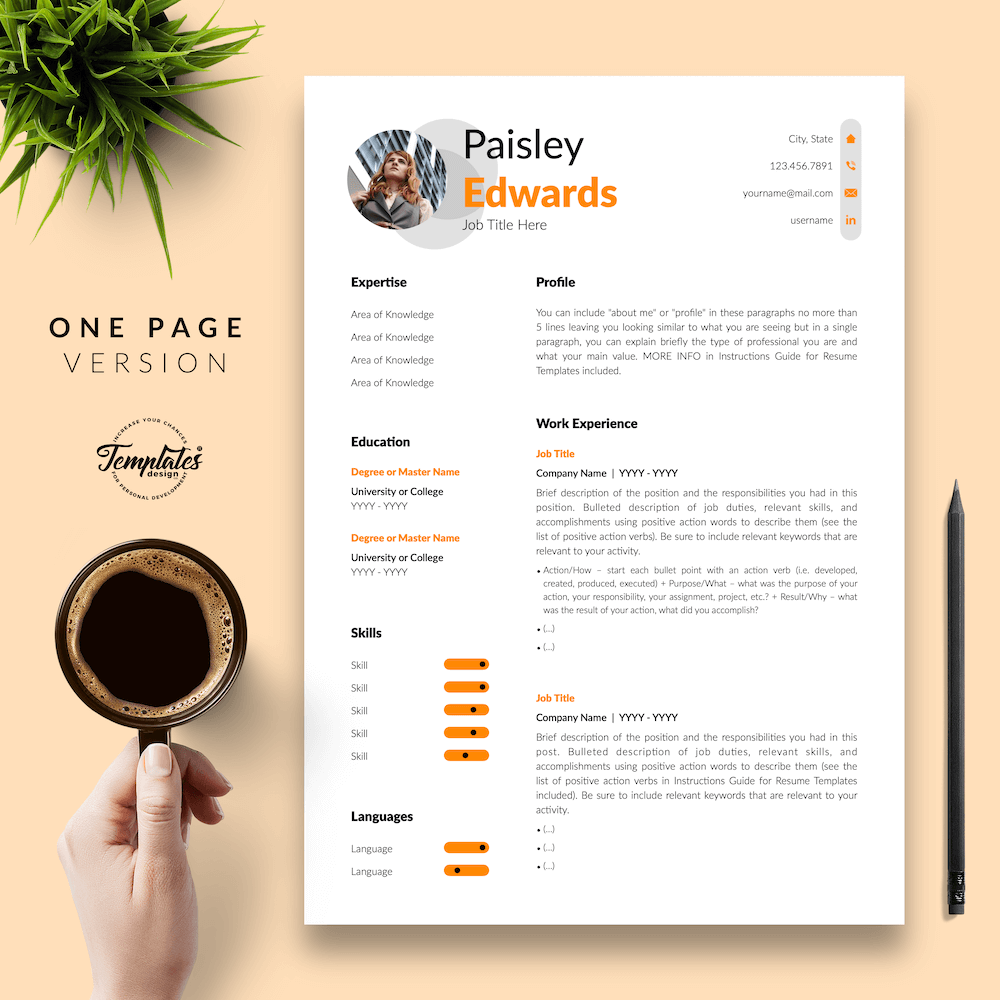Marketing Resume Sample - Paisley Edwards 02 - One Page Version - New version