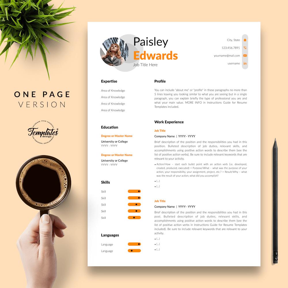 Marketing Resume Sample - Paisley Edwards 02 - One Page Version - New version