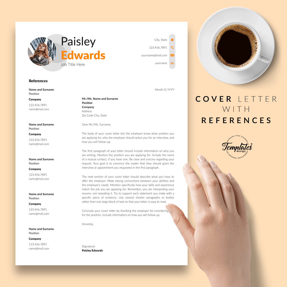 Marketing Resume Sample - Paisley Edwards 07 - Cover Letter with References - New version