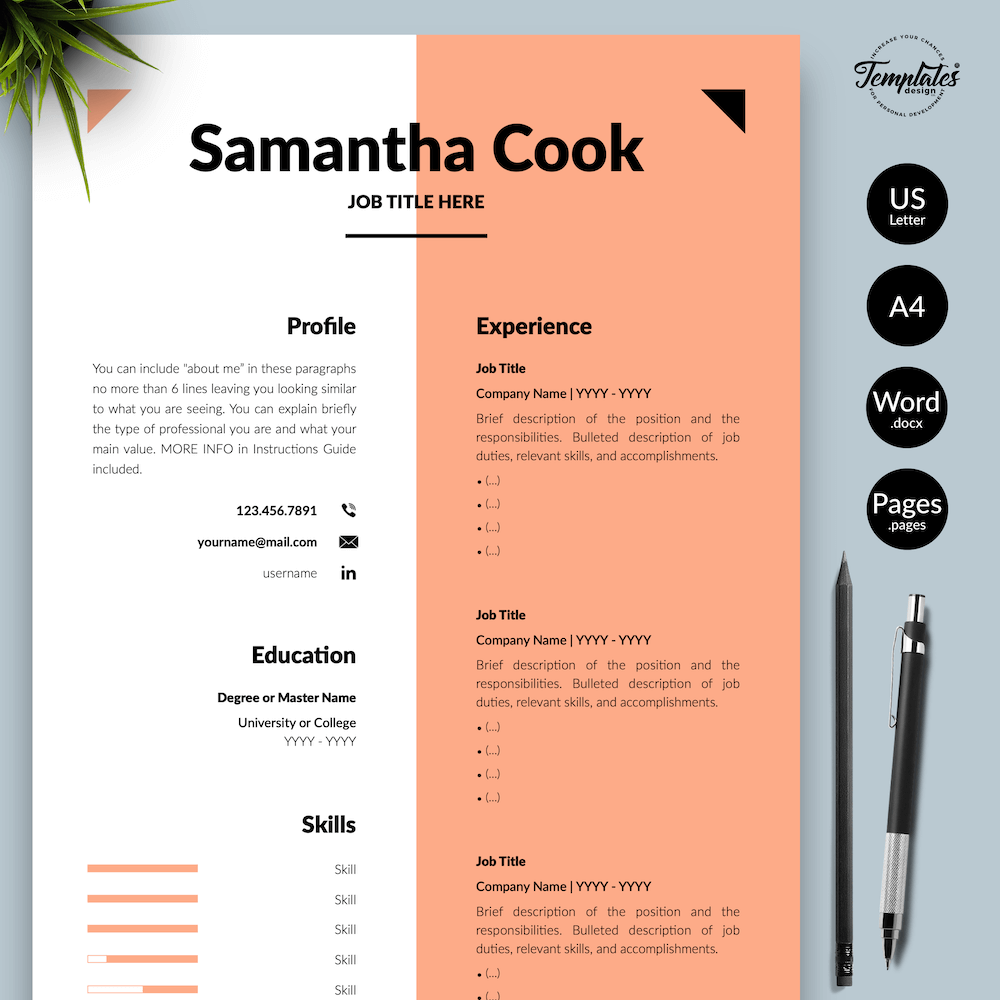 Secretary Resume Template - Samantha Cook 01 - Presentation - New version