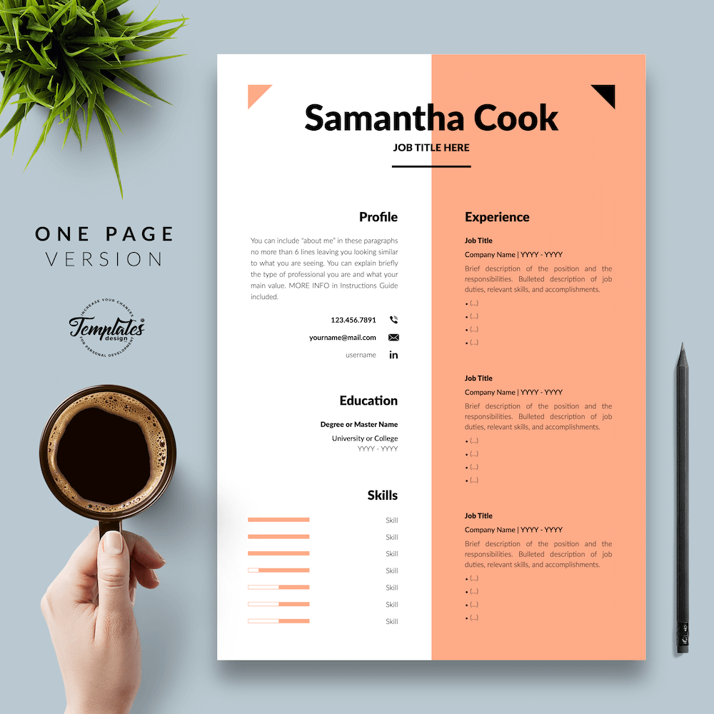 Secretary Resume Template - Samantha Cook 02 - One Page Version - New version