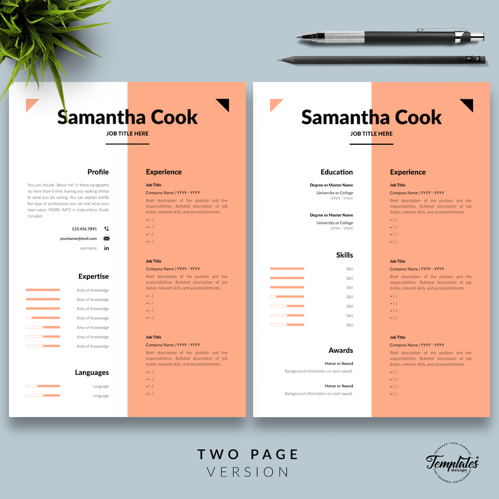 Secretary Resume Template - Samantha Cook 03 - Two Page Version - New version