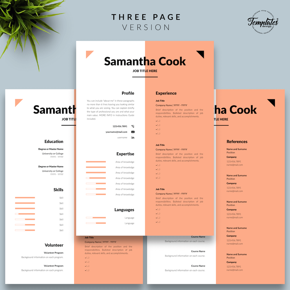 Secretary Resume Template - Samantha Cook 04 - Three Page Version - New version