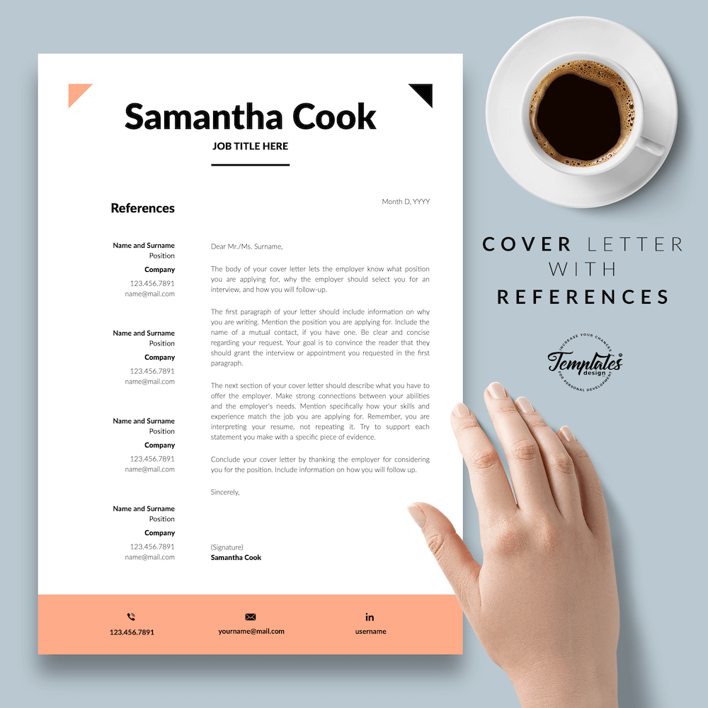 Secretary Resume Template - Samantha Cook 07 - Cover Letter with References - New version