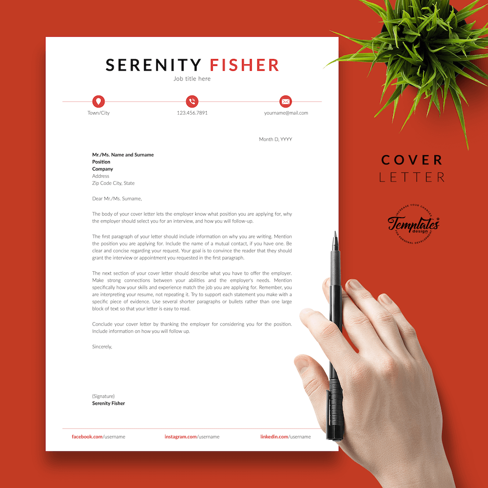 Retail Sales Resume Model - Serenity Fisher 05 - Cover Letter - New version