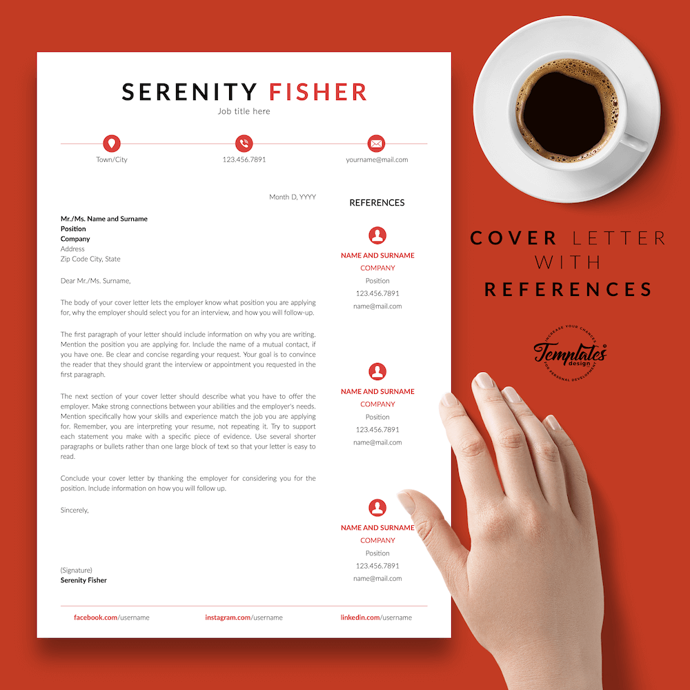Retail Sales Resume Model - Serenity Fisher 07 - Cover Letter with References - New version