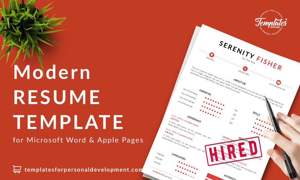 Resume CV Template : Serenity Fisher 22 - Post - New version