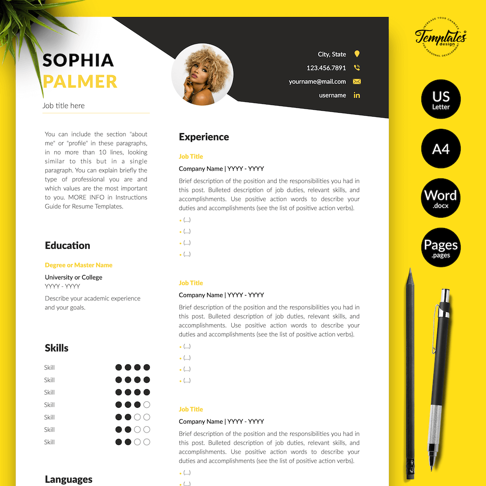 Modern Resume with Photo - Sophia Palmer 01 - Presentation - New version