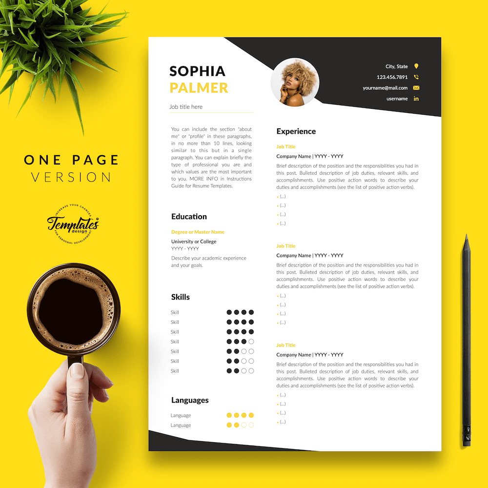 Modern Resume with Photo - Sophia Palmer 02 - One Page Version - New version