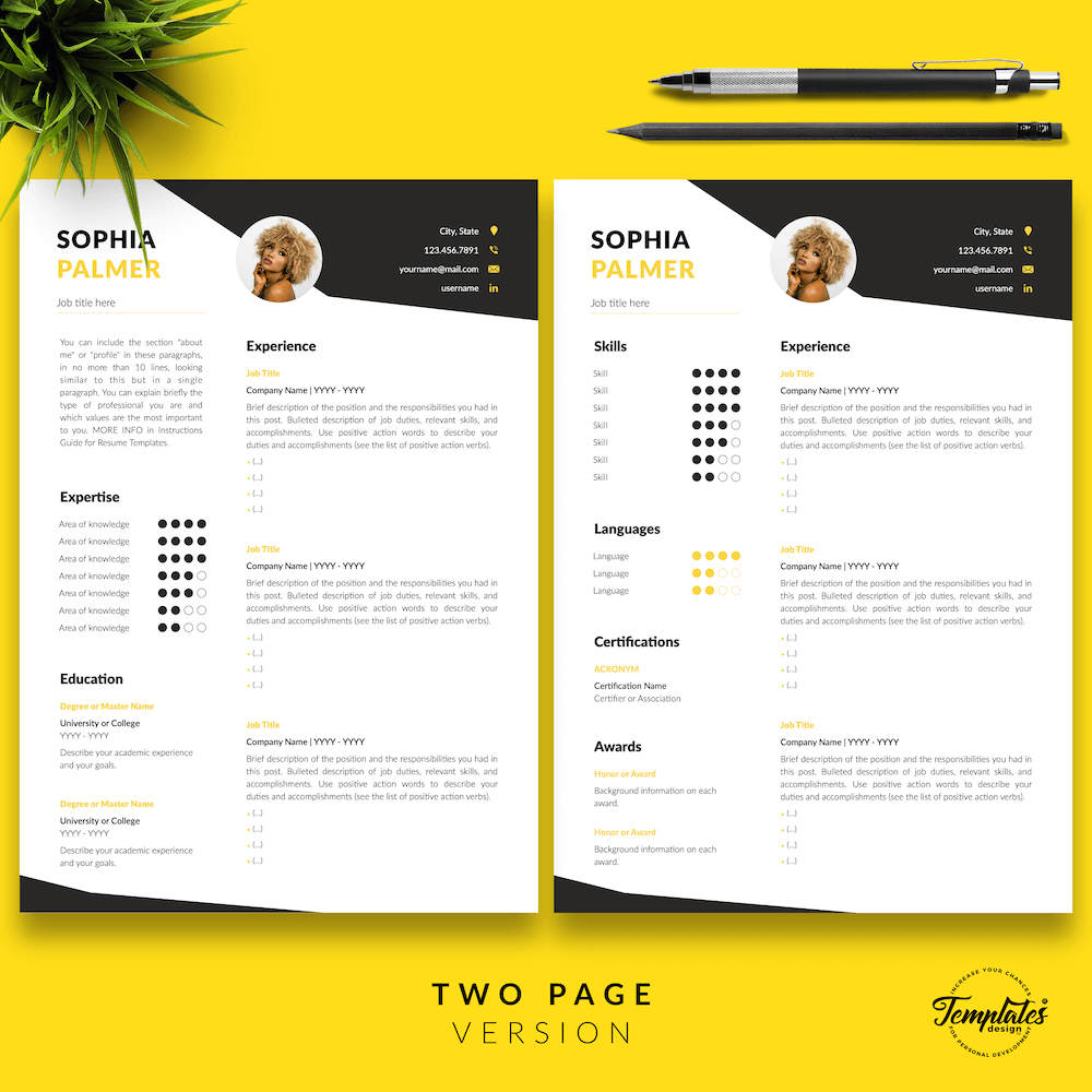 Modern Resume with Photo - Sophia Palmer 03 - Two Page Version - New version