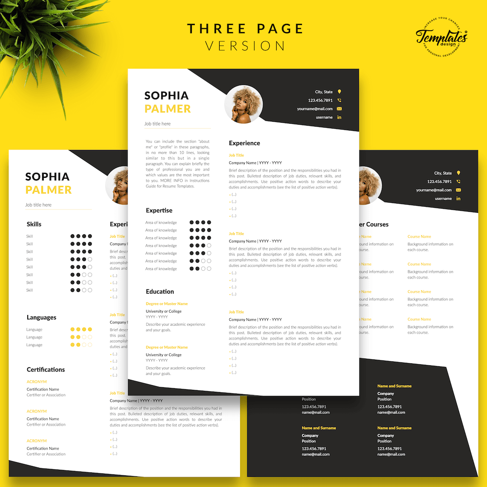 Modern Resume with Photo - Sophia Palmer 04 - Three Page Version - New version