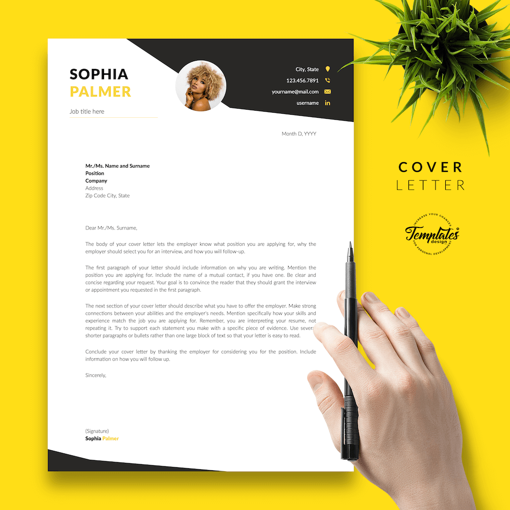 Modern Resume with Photo - Sophia Palmer 05 - Cover Letter - New version