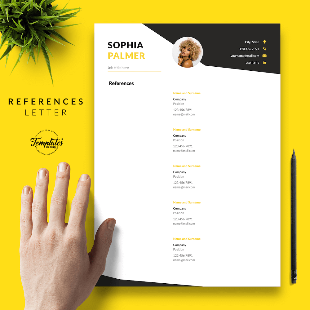 Modern Resume with Photo - Sophia Palmer 06 - References - New version