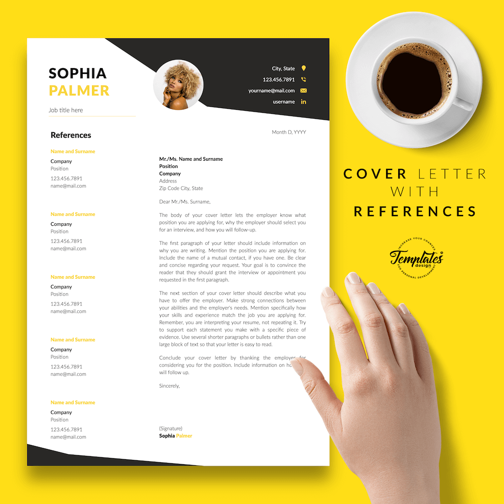 Modern Resume with Photo - Sophia Palmer 07 - Cover Letter with References - New version