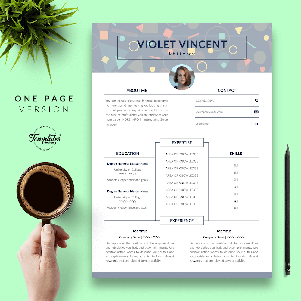 Geometric Pattern Resume Template - Violet Vincent 02 - One Page Version - New version