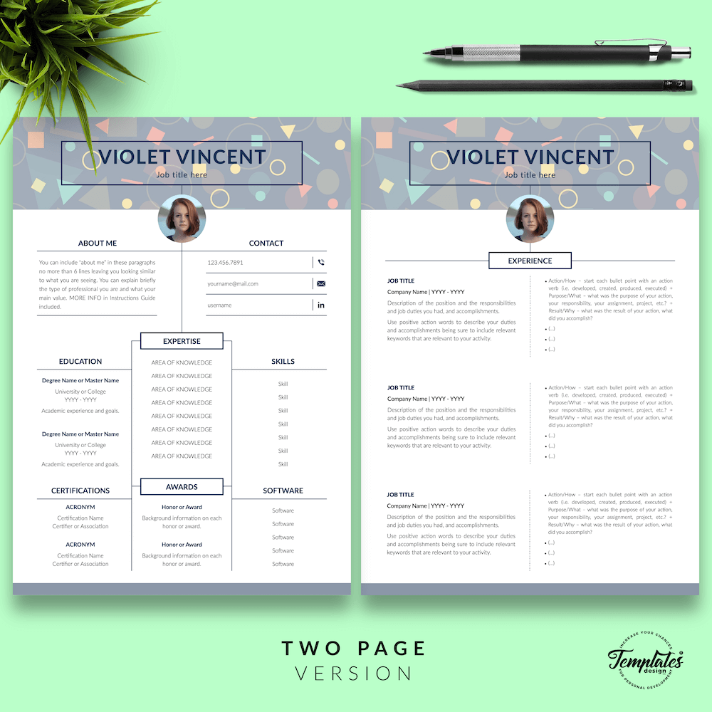 Geometric Pattern Resume Template - Violet Vincent 03 - Two Page Version - New version