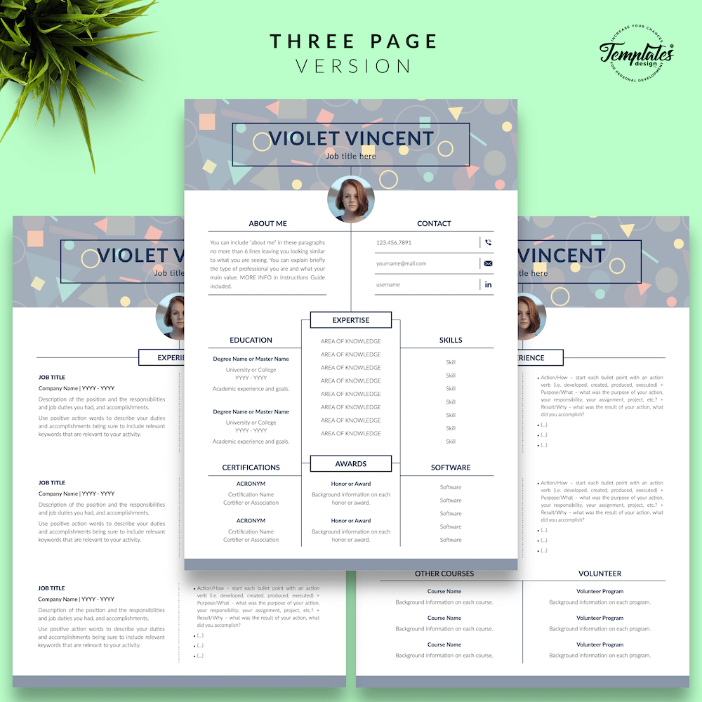 Geometric Pattern Resume Template - Violet Vincent 04 - Three Page Version - New version