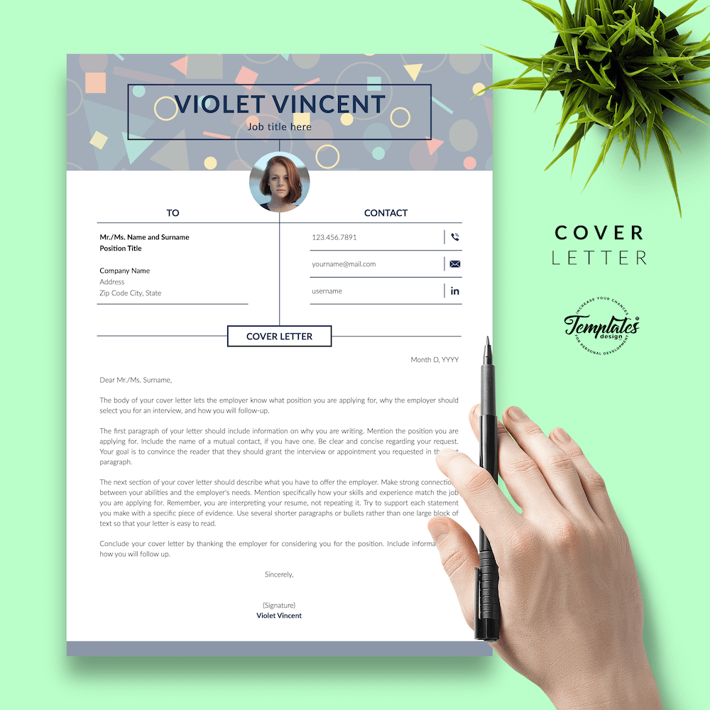 Geometric Pattern Resume Template - Violet Vincent 05 - Cover Letter - New version