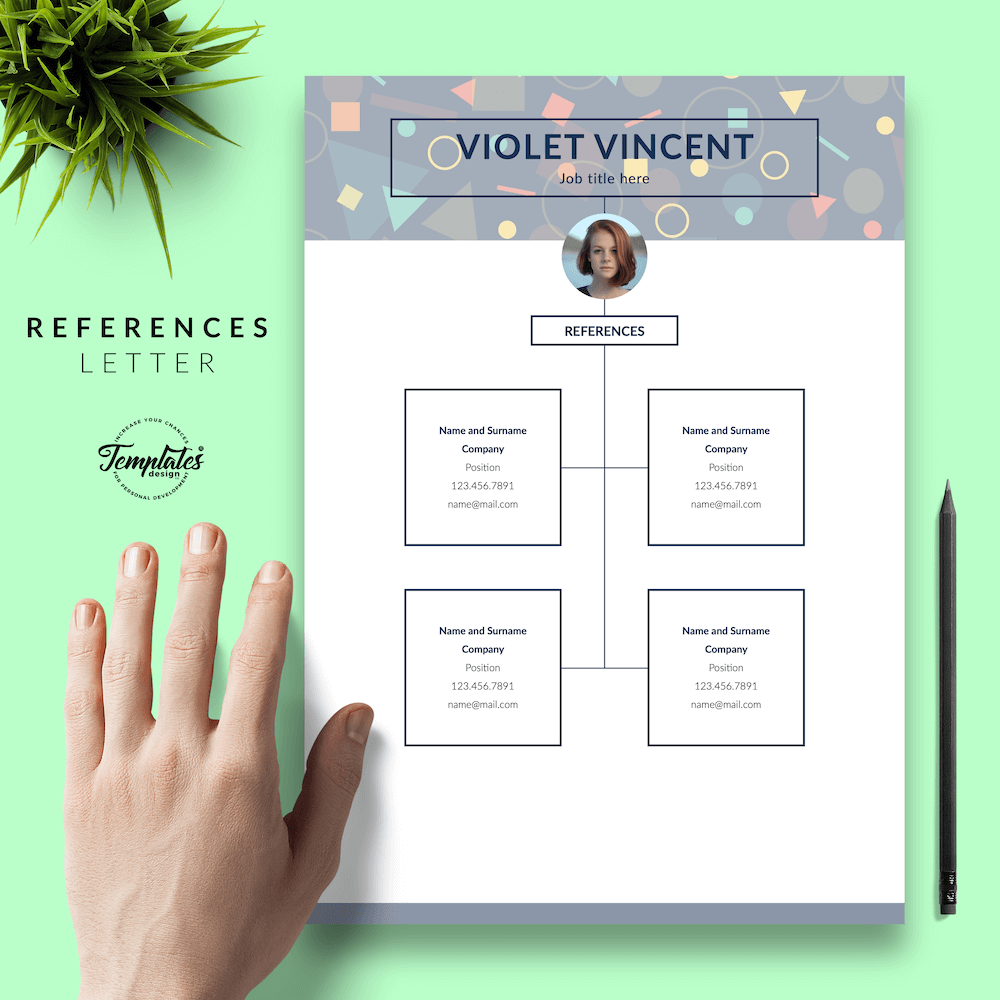 Geometric Pattern Resume Template - Violet Vincent 06 - References - New version