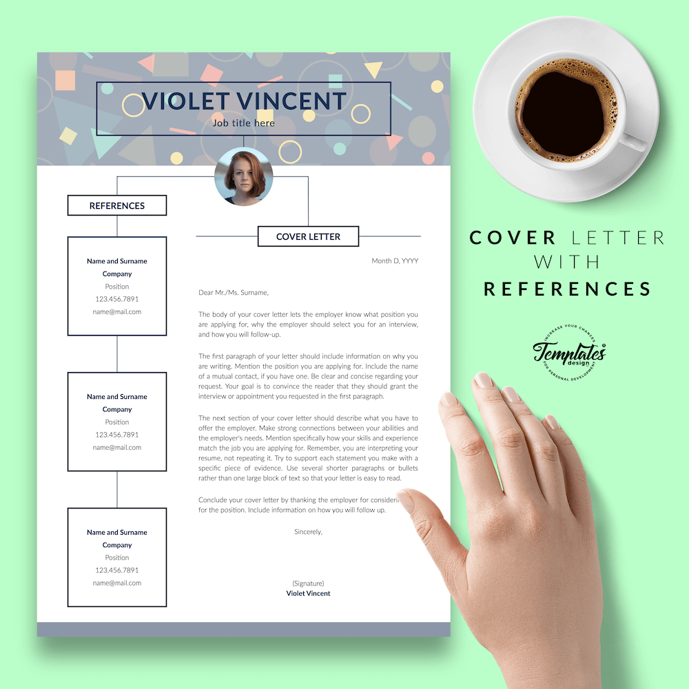 Geometric Pattern Resume Template - Violet Vincent 07 - Cover Letter with References - New version