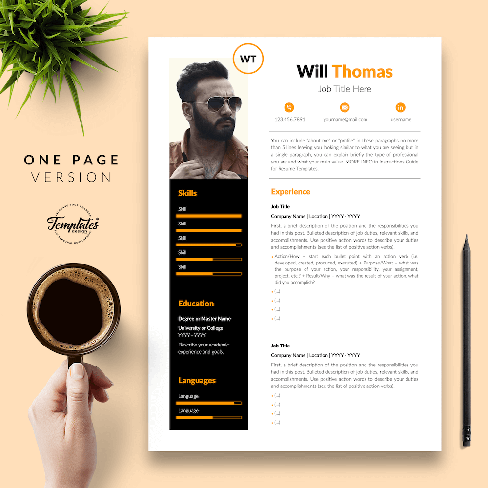 Resume CV for Health Coach - Will Thomas 02 - One Page Version - New version