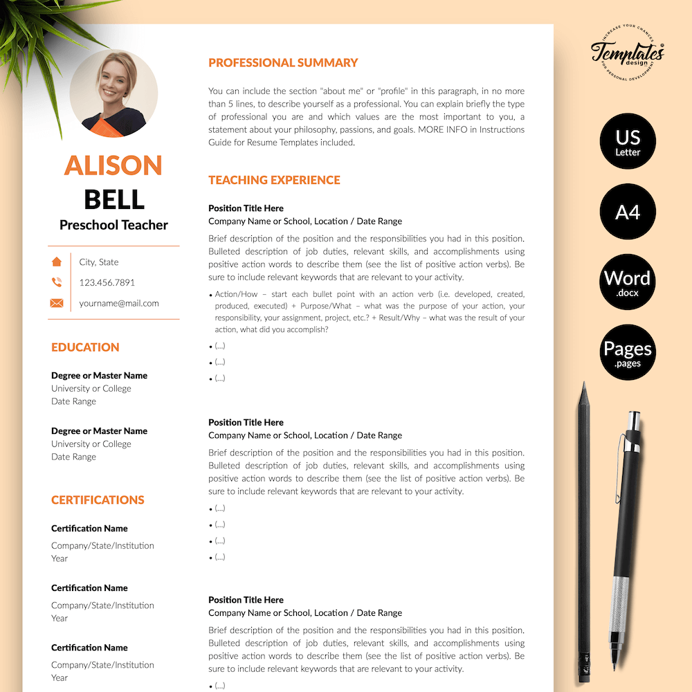 Teacher Resume Template - Alison Bell 01 - Presentation - New version
