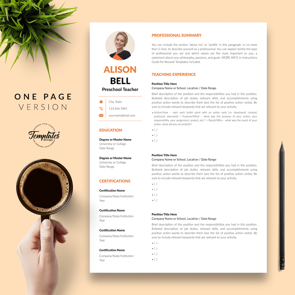 Teacher Resume Template - Alison Bell 02 - One Page Version - New version