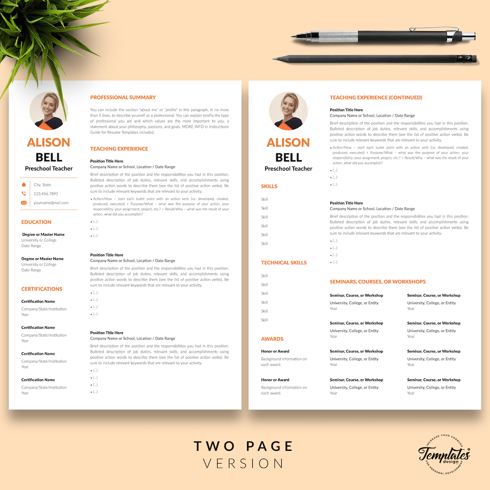 Teacher Resume Template - Alison Bell 03 - Two Page Version - New version