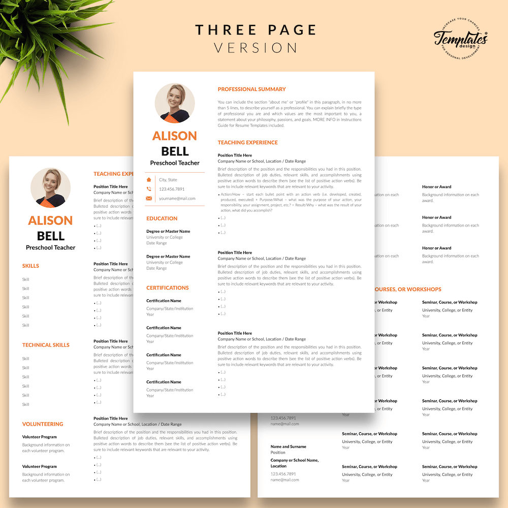 Teacher Resume Template - Alison Bell 04 - Three Page Version - New version