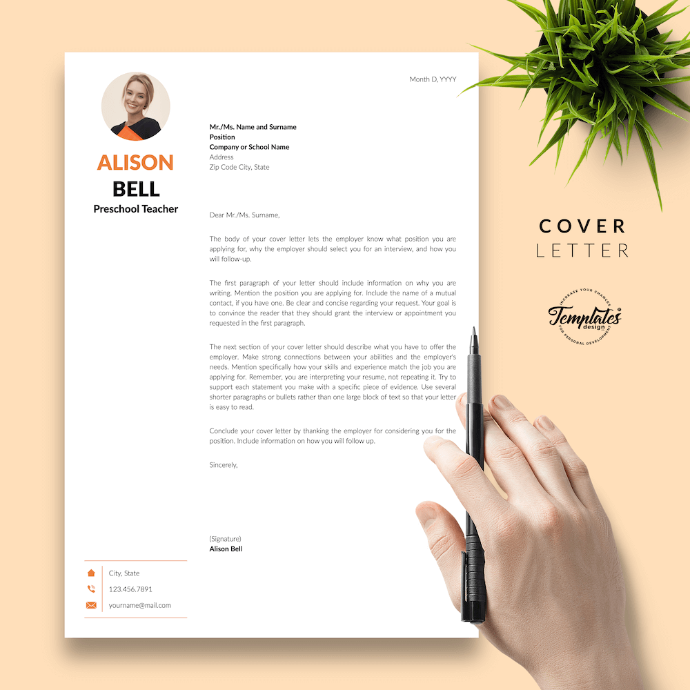 Teacher Resume Template - Alison Bell 05 - Cover Letter - New version